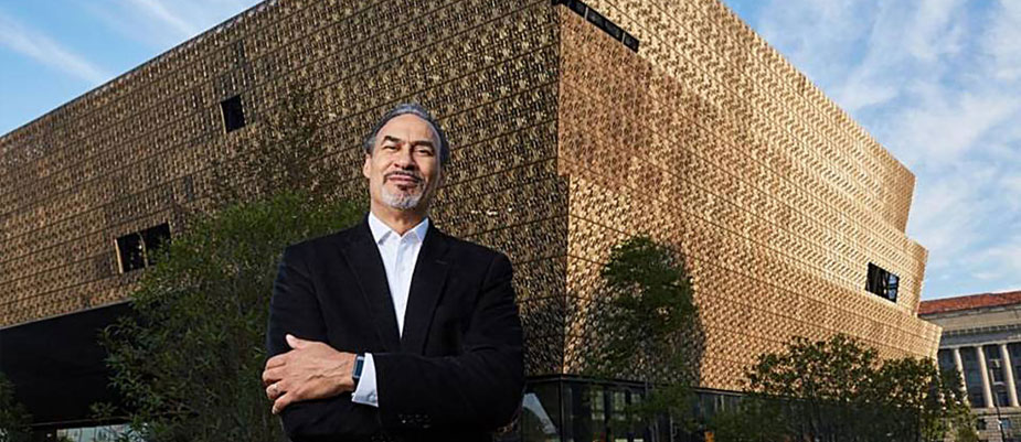 Phil Freelon in front of the Smithsonian National Museum of African American History and Culture, Washington, D.C., 2016
