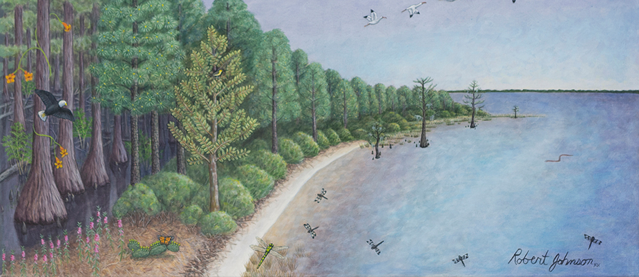 Robert Johnson (American, b. 1944), Lake Waccamaw State Park, 2019, acrylic and oil canvas. On loan from Blue Spiral 1, Asheville, NC