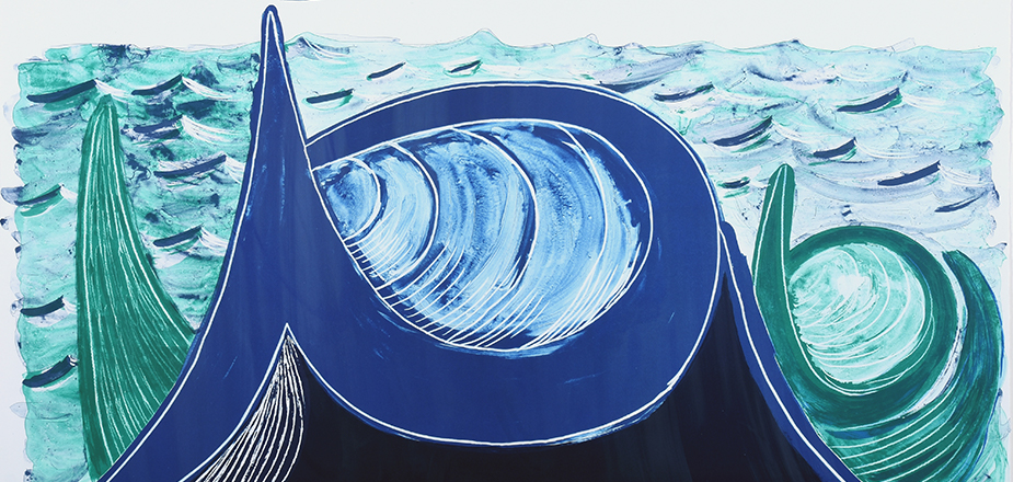 David Hockney (British, 1937), The Wave, 1990, color lithograph. Gift of the estate of Louis Belden. © David Hockney / Tyler Graphics Ltd.